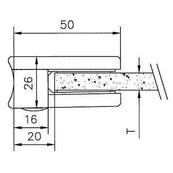 Крепление для стекла на трубку ø 38,1 - 42,4 мм / 6 и 8 мм