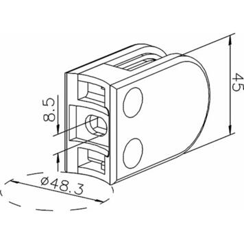 Крепление для стекла на трубку ø 48,3 - 50,8 мм / 6, 8 и 10 мм